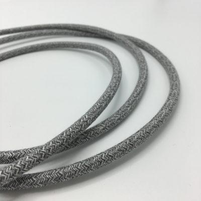 Een afbeelding van een canvas grijs textielsnoer